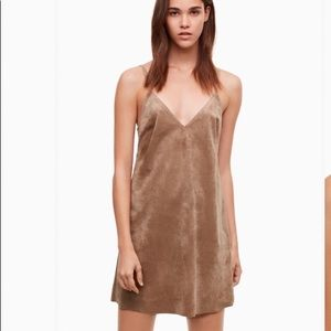 Aritzia Wilfred Free iconic suede camisole dress